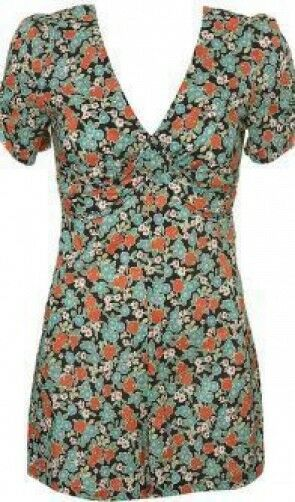 Topshop Busy Lizzie Floral Ditsy Tea Playsuit Romper 50s Style Vintage S 36