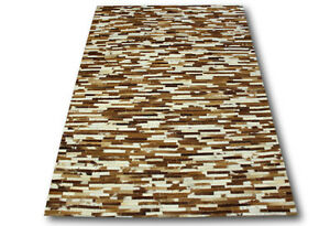 tapis patchwork cuir veritable 160x230 cm vintage patchwork peau ivory marron ebay. Black Bedroom Furniture Sets. Home Design Ideas