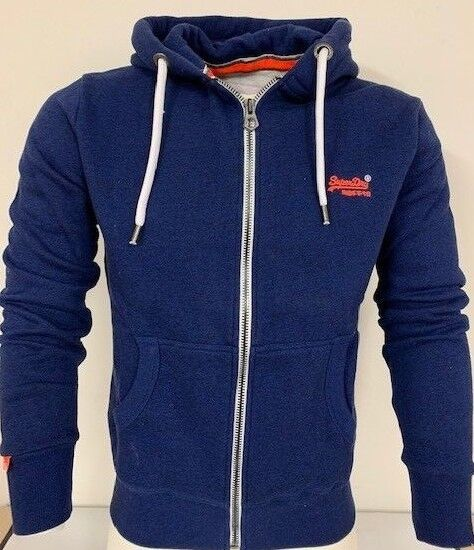 Superdry M20077PQDS/QM5  Herren Original Orange Label Zip Hood Hoodies Blast Blau