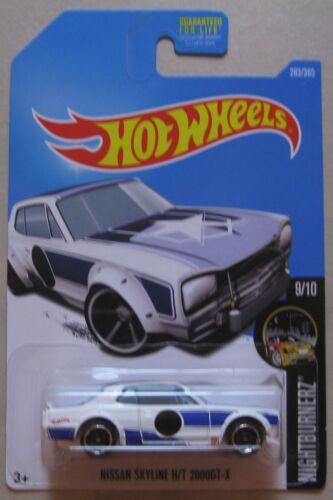 Hot Wheels 2017 Nightburnerz Serie Nissan Skyline H//T 2000GT-X Weiß M Hülle