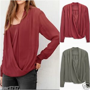 New-NEXT-Ladies-Grey-or-Red-Wrap-Front-Long-Sleeve-Casual-Chiffon-Top-Size-8-22