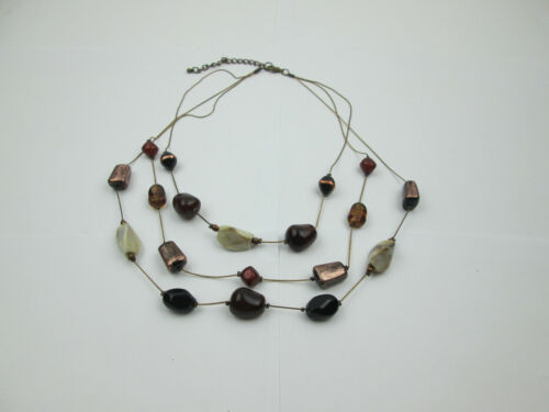 Pearl and Antique Bronze Coil bead necklace TanPink Glass