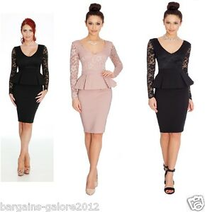 Ladies-Amy-Childs-Style-Lace-Peplum-Dress-Vintage-Bodycon-Party-TOWIE-Size-8-10