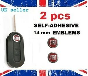 2x-NEW-Remote-Key-Fob-Badge-Emblem-Sticker-Logo-for-Fiat-red-14mm-6