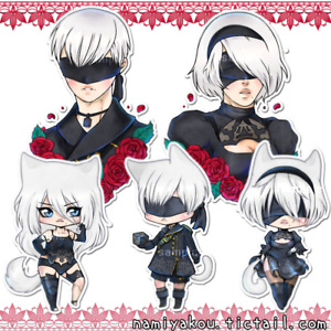 Image Is Loading Nier Automata Stickers Cute Chibi 2b 9s A2