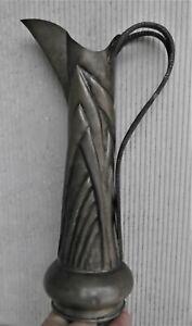 H:32 cm: Albert Chezal:Grand,pichet aiguière étain 1900/25:Jugendstil Pewter