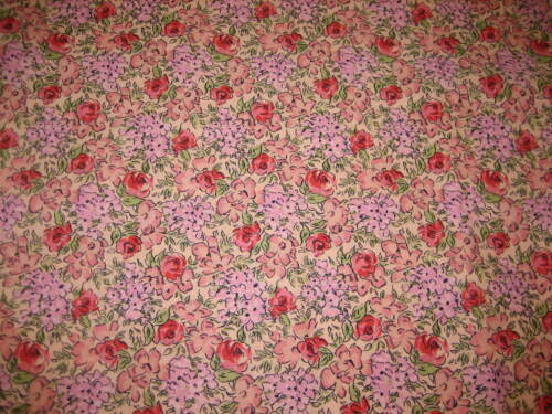 """NOS JOANN Sewing Fabric By The Yard B9 Peach Floral Print 43/""""W Pink"""