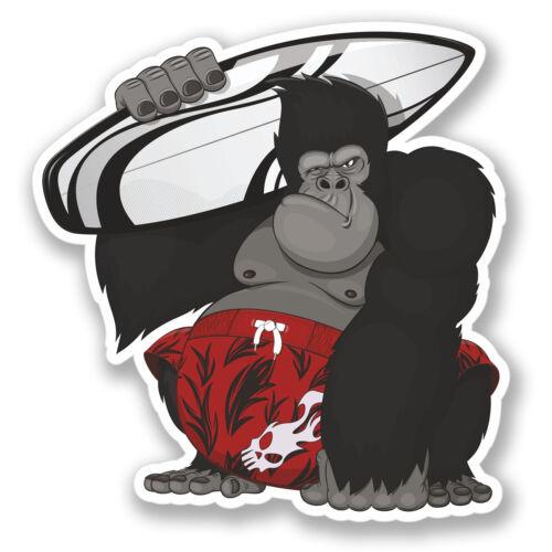 2 x Surf Gorilla Sticker Car Bike iPad Laptop Decal Travel Luggage Hawaii #4203
