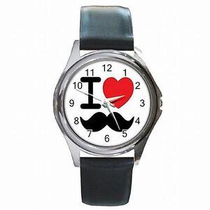 """100% Wahr """" I Love Schnurrbart Club Schnurrbart Party Design Leder Uhr Neu! Reichhaltiges Angebot Und Schnelle Lieferung"""
