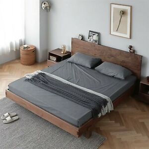 Customized Retro Black Walnut Fully Wood Handmade Double Bed Frame King & Queen