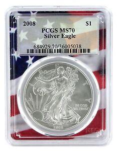 2010 1oz Silver Eagle PCGS MS70 Flag Frame