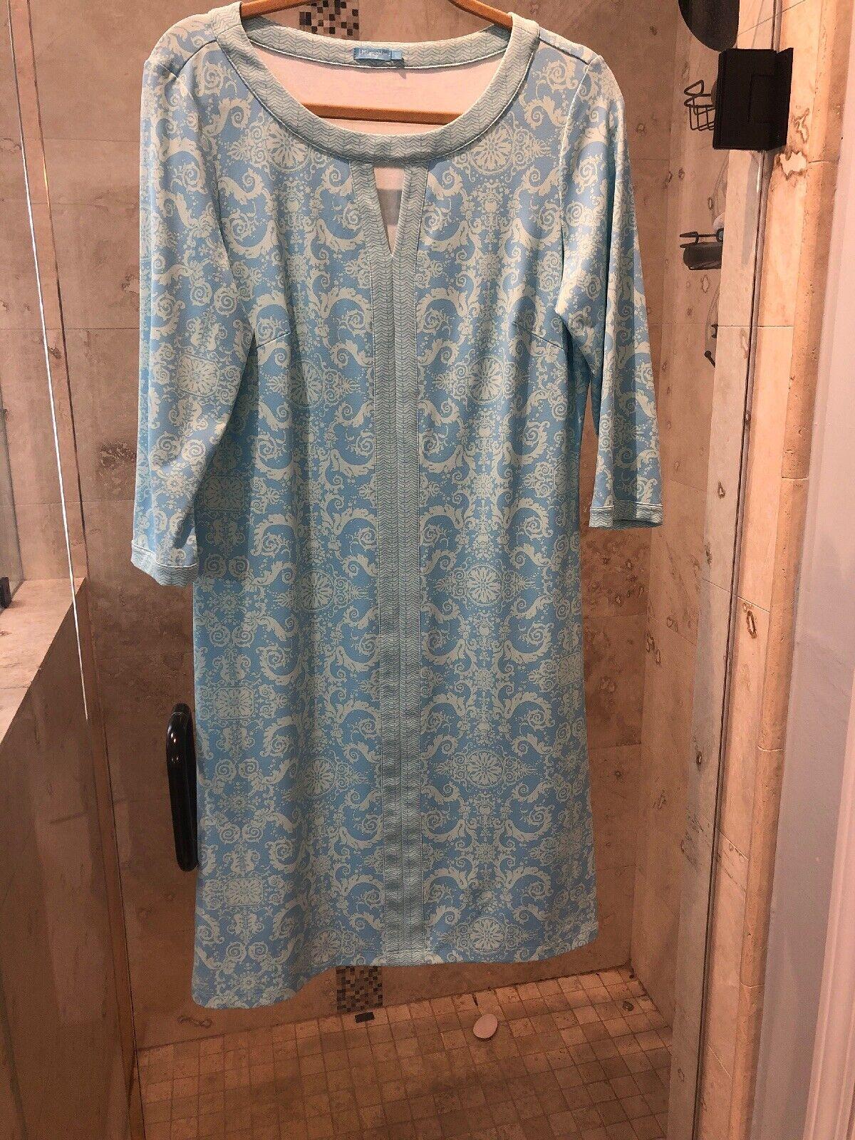 Blau Grün abstract print J. MCLAUGHLIN stretch 3 4 sleeve shift dress L Summer