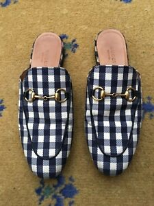 96c526196f Image is loading Gucci-Womens-Shoes-Gingham-Princetown-Loafer-Slipper-UK-