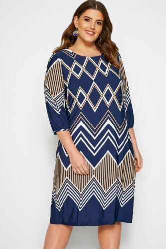 Yours Clothing WOMEN/'S PLUS SIZE BLU NAVY Geometrici Print Shift Dress