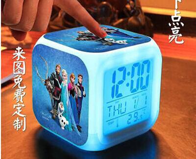 Frozen Anna Elsa  Color LED Digital Alarm School Clock Watch kids