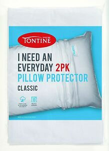 NEW Tontine I Need an Everyday 2 pack 100% Cotton Pillow Protector Zip Closure