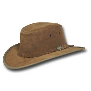01112ce0ce0 Image is loading Barmah-Hats-Foldaway-Suede-USA-Leather-Hat-1066LM-