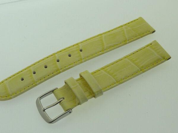 # L464 # Uhrenarmband Leder Juwelier QualitÄt 16 Mm Hell-gelb Naht Kroko-optik