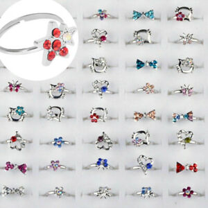 50-100pcs-Wholesale-Lots-Mixed-Jewelry-CZ-Crystal-Rings-Children-Kids-Band-Rings