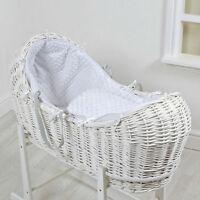 4baby White Dimple White Wicker Baby Moses Basket / Noah Pod & Mattress