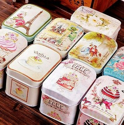 Retro Home Flower Eiffel Tower Cake Metal Coffee Tea Candy Container Jar Tin