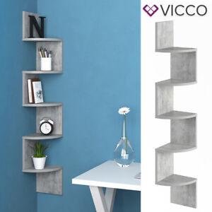 vicco eckregal snake beton optik h ngeregal wandregal b cherregal regal design ebay. Black Bedroom Furniture Sets. Home Design Ideas