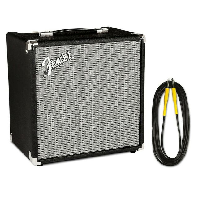 Fender Rumble 25W 1x8 Bass Combo Amp and 20 Foot Instrument Cable