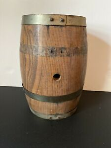 Antique-Iron-Banded-Cooper-Made-Wooden-Keg-Barrel-Whiskey-XXX-Charred-Wood