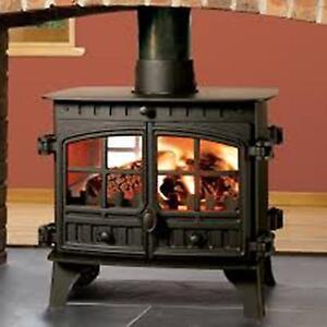 Hunter Herald 14 Double Face Multi Fuel Stove Wood Burning Fire 14 Kw-afficher Le Titre D'origine