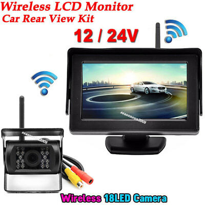 "4.3/"" Monitor Kit for RV Car Truck US Wireless IR Car Rear View Backup Camera"