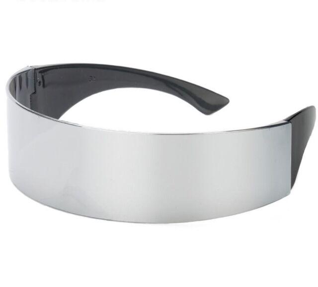 Black Futuristic Sunglasses Robot Eye Shield Shape Flat Top Wrap Frame Mirrored