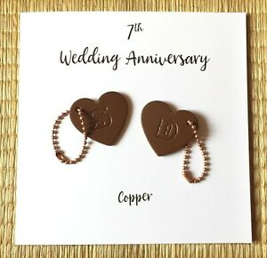 7th Wedding Anniversary Card Personalised Coppe Anniversary Key Ring Charm Gifts