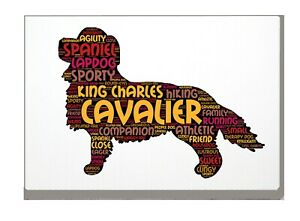 Cavalier-King-Charles-Spaniel-Word-Art-Canvas-A4A3A2A1-Gift-Personalised-Option
