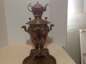 Vintage-Russian-Brass-Samovar-with-Tray-22-034-High