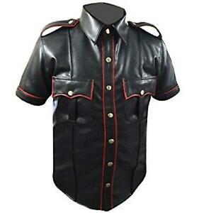 Mens-Hot-Leather-Police-Uniform-Genuine-Real-Black-BLUF-Gay-Shirt