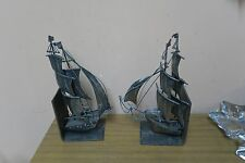 "Pair @ 2 Antique Wrought Iron Nautical Book Ends Bookends Clipper Ship 11"" x 4"""