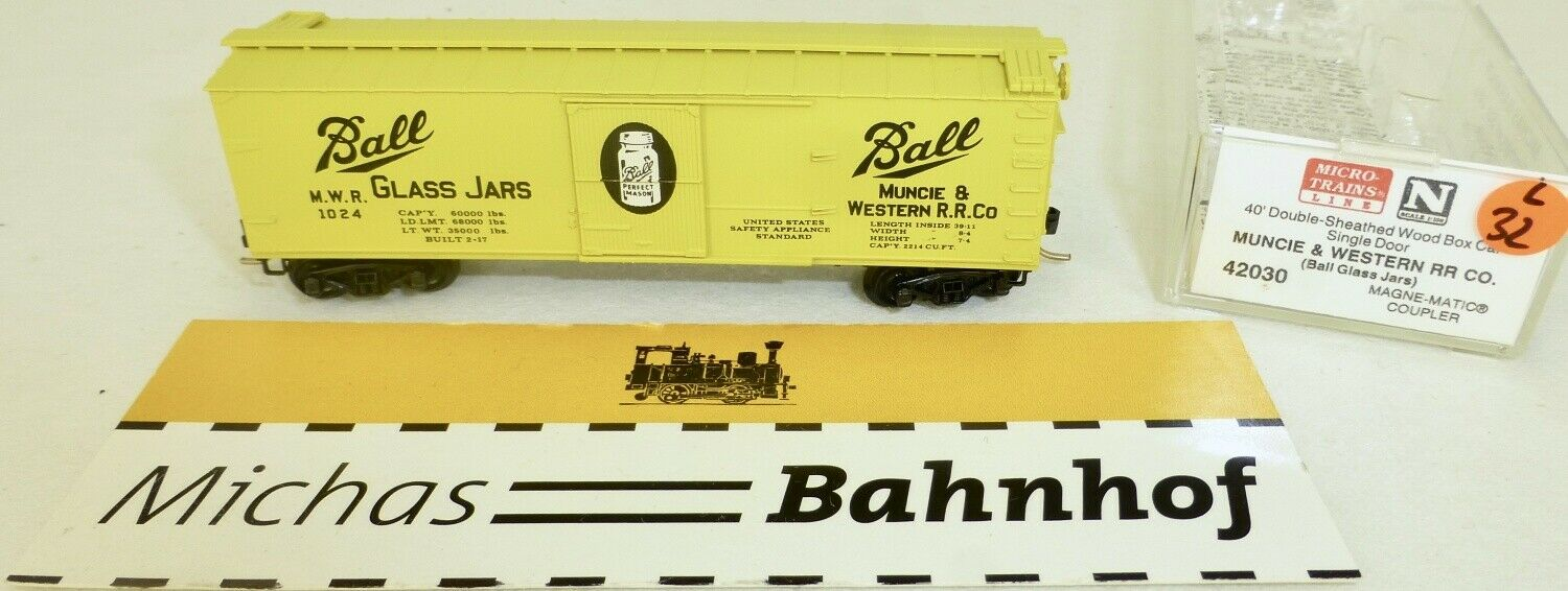 Micro Trains 42030 Mwr Ball Glass Jars 1024 40' Sheathed Wood Boxcar N 1 160 Ovp