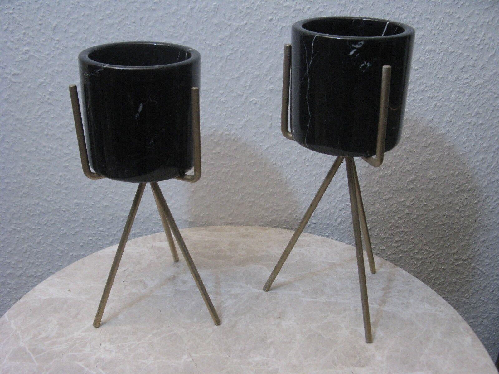 Marmo Set 2 vasi vasi vasi con supporto in metallo merce fabbrica NUOVO f96db9
