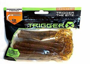 Trigger X Swimming Soft Worm Ultrabite Lure Choice of Color Size One Package