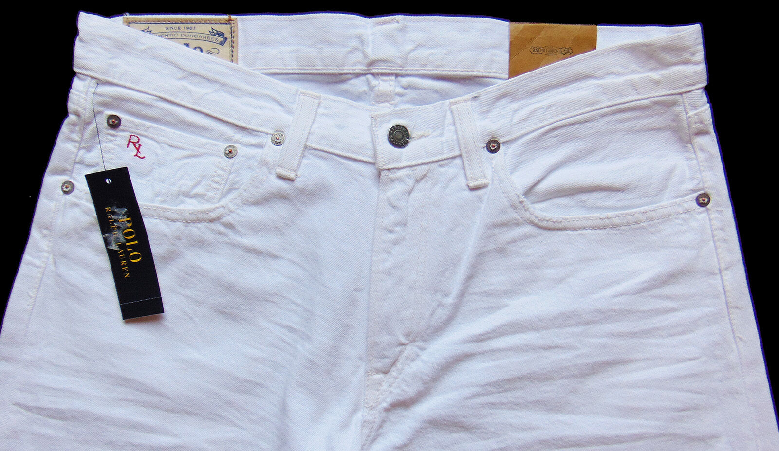 Men's POLO RALPH LAUREN White Denim Jean Pants Tagged 32x30 NWT Hampton Straight