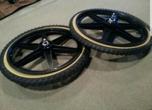 "NEW 20/"" MAG WHEELS 6 SPOKE WHITE TIRES TUBES FOR GT DYNO HARO OR BMX BICYCLES"