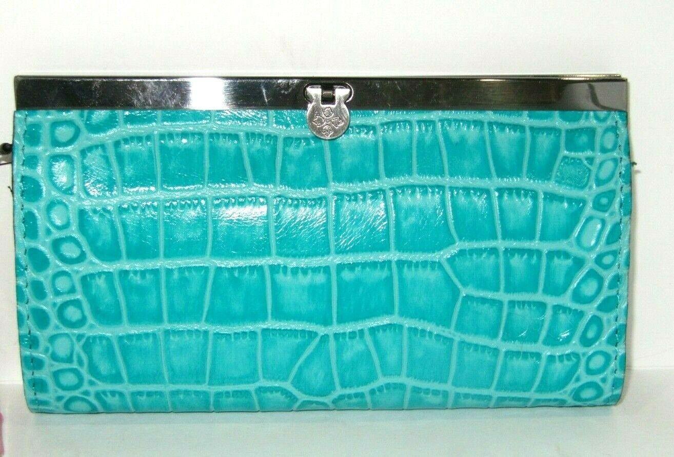 Patricia Nash Aqua Leather Croco Embossed Cauchy Framed Wallet RFID NWT