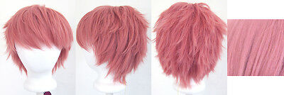 11/'/' Short Messy Spiky Coral Pink Synthetic Cosplay Wig Dark Natsu NEW