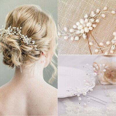 9x Wedding Bridal Diamante Crystal Hair Pins Party Prom Girl Woman Headdress
