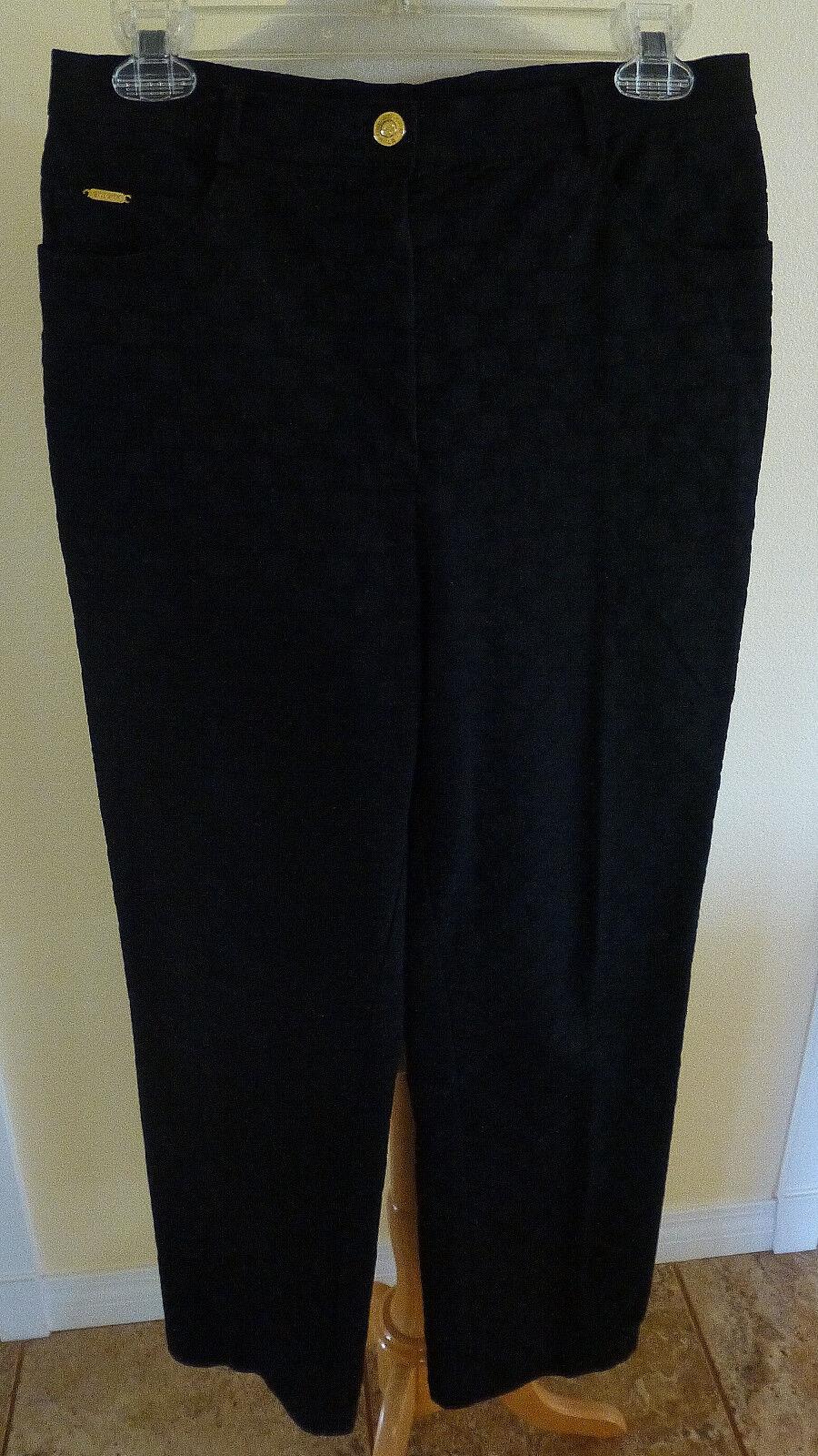 ST. JOHN noir en coton extensible ton sur ton SJ Logo Estampé Skinny Jambe Pantalon comme NEUF 6
