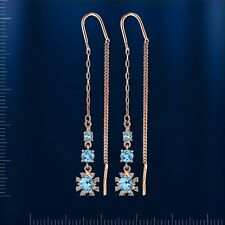 Russische Rose Rotgold 585 Durchzieher Ohrringe mit Topasen. Rose gold earrings