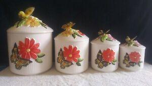 Vintage-Butterfly-Kitchen-Canister-Set-4-Pc-Set-Vintage-1970-039-s-SUPER-NICE