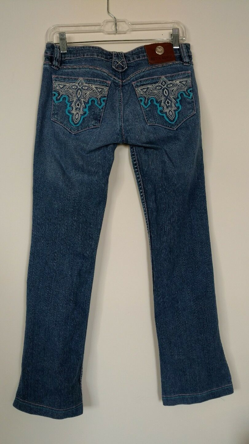 ANTIK jeans womens size 28 Stretch Flare Jeans Pink bluee White Stitch