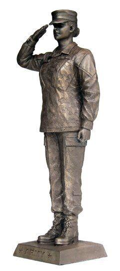 KA308 Hembra Salute-Ejército de Color caqui del ejército acabado bronce 12.75  estatua militar-Nuevo