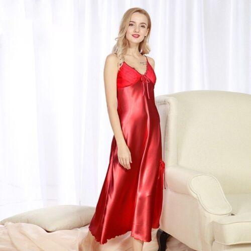 Women Silky Satin Lace Full Slip Long Dress V Neck Strap Slim Sleepwear Vintage